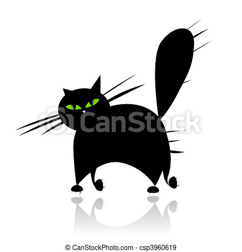 Big black cat silhouette with green eyes - csp3960619