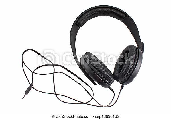 Big black headphones isolated on white - csp13696162