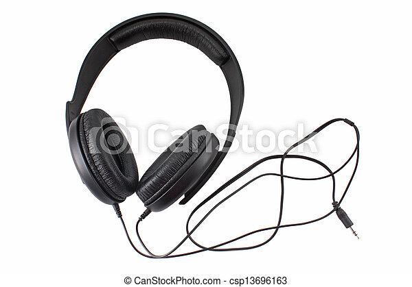 Big black headphones isolated on white - csp13696163
