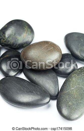 big black spa stones isolated on white - csp17415098