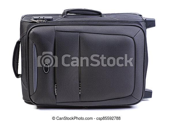 Big black suitcase isolated on white background - csp85592788