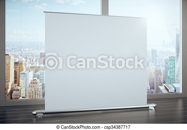 Big blank advertising banner in a room with large windows, mock up - csp34387717