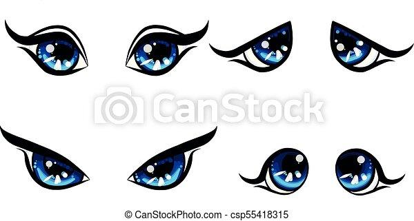Big Blu Girl Character Eyes Emotion On Face Happy And Angry Und Upset Sad Women Eyes Cartoon Set Manga Eyes Four
