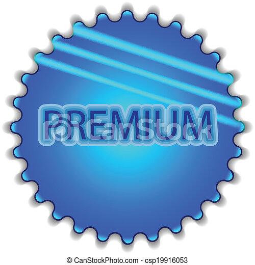 "Big blue button labeled ""Premium"" - csp19916053"