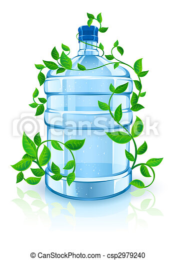 big bottle with clean blue water drink and green foliage - csp2979240