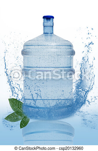 big bottle with clean blue water drink and green foliage - csp20132960