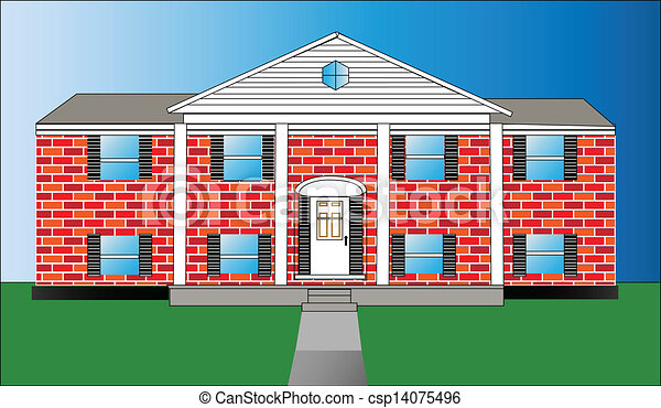 Big Brick House Vector Illustration Of Raised Ranch Home Eps