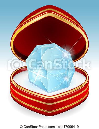 Big brilliant diamond in gift box - csp17006419