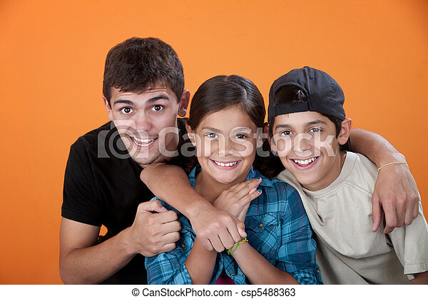 Big Brother with Two Siblings - csp5488363
