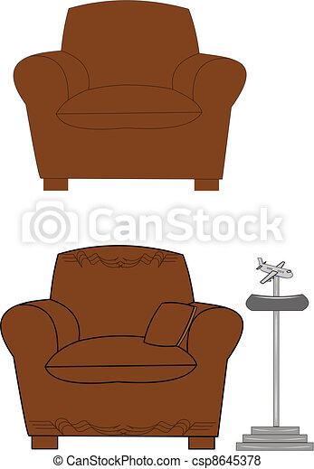 Big brown chair Big comfy brown chair with airplane ashtray