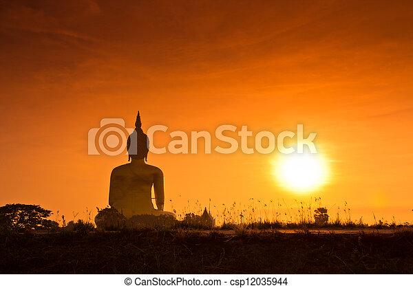 Big buddha statue at Wat muang, Thailand  - csp12035944