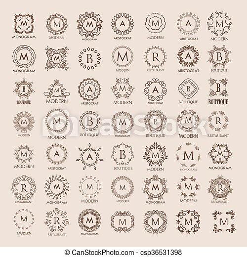 Big bunch of luxury, simple and elegant monogram design templates.  - csp36531398