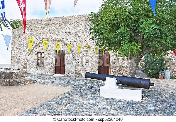 big cannon at the castle of Monemvasia Lakonia Peloponnese Greece - csp52284240