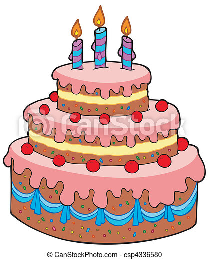 Big cartoon birthday cake vector illustration vector clipart