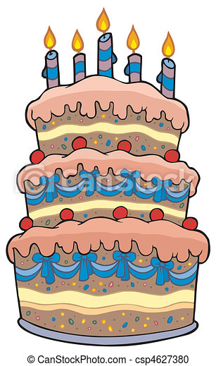 Big cartoon cake with candles - csp4627380