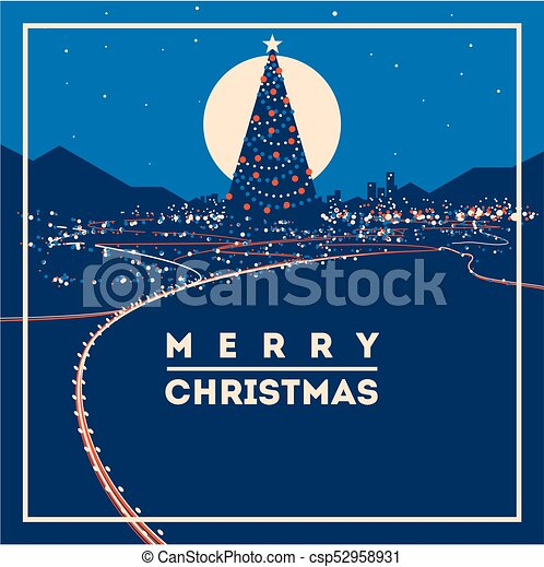 big christmas tree with city lights minimalistic vector illustration