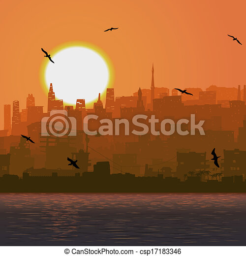 Big city by the sea at sunset. - csp17183346