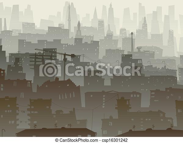 Big city in dusk. - csp16301242