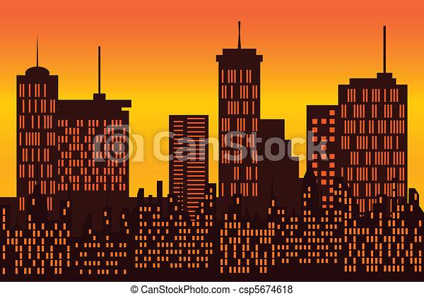 Big city skyline silhouette - csp5674618