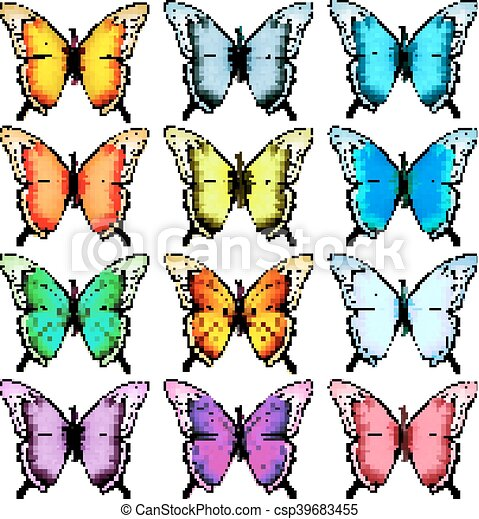 Big collection of colorful butterflies. Vector - csp39683455