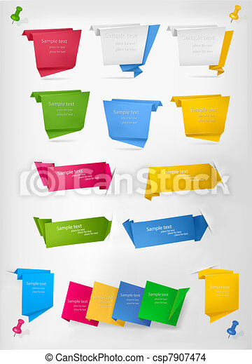 Big collection of colorful origami  - csp7907474
