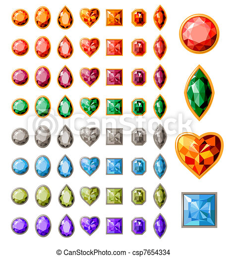 Big collection of different jewels on white - csp7654334