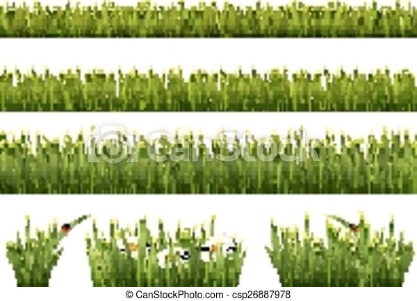 Big collection of green grass. Vector. - csp26887978