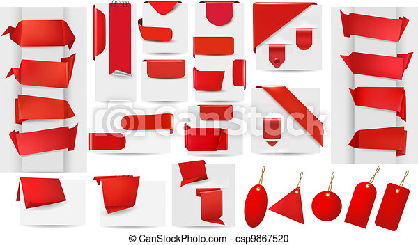 Big collection of red origami paper - csp9867520