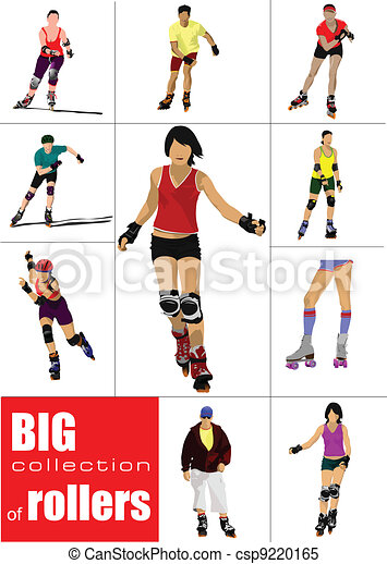 Big collection of Roller skater si - csp9220165