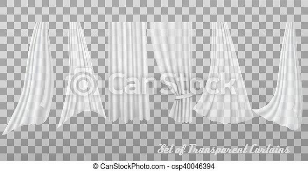 Big collection of transparent curtains. Vector - csp40046394