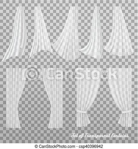 Big collection of transparent curtains. Vector - csp40396942