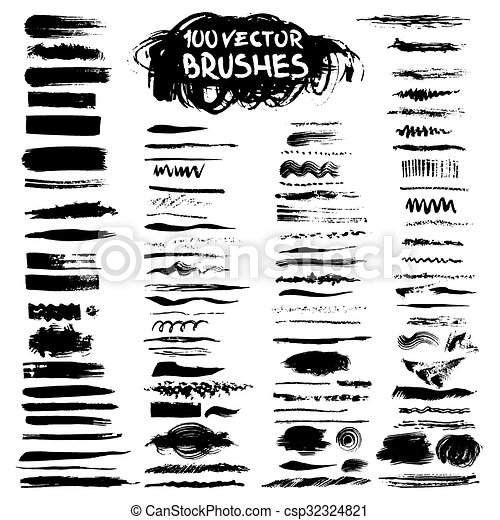 Big collection of vector art brushes. - csp32324821