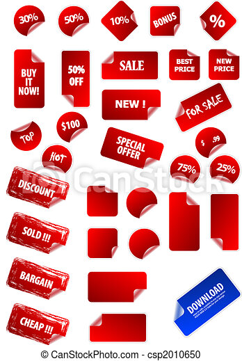 Big collection of vector sticky price labels for marketing and advertisement. Easy to edit, any size. Aqua web 2.0, grunge, retro. Perfect for your own text and design. - csp2010650