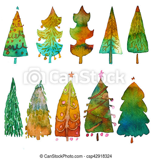 Big collection of watercolor Christmas tree isolated on a white background. Design holiday Christmas trees for wrapping paper, scrapbooking - csp42918324
