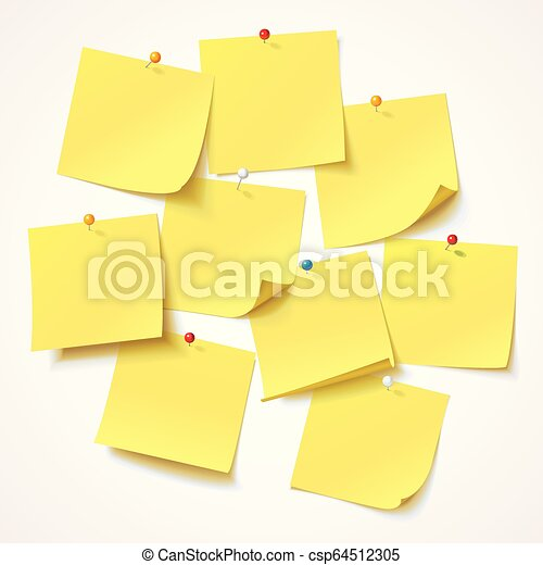 Big collection yellow sticker pinned pushbutton with curled corner, ready for your message - csp64512305
