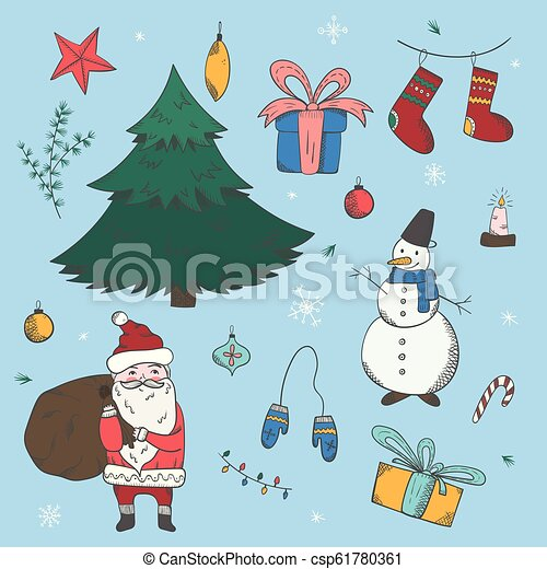 Colorful Christmas Background For Kids.Big Colorful Set Of Doodle Christmas Elements