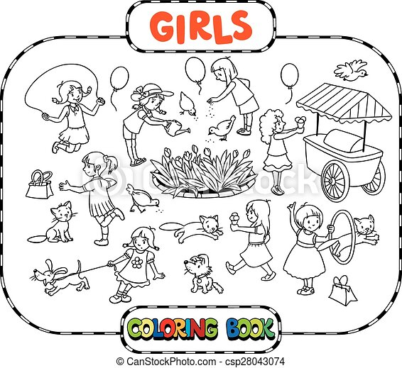 Big coloring book with playing girls. Big coloring book or ...
