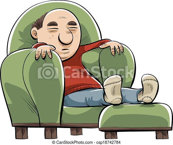 Big, comfortable chair. A cartoon man naps in a big, soft