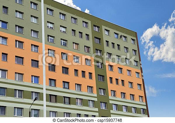 Big condominium apartment block. Skyscraper building house. - csp15937748