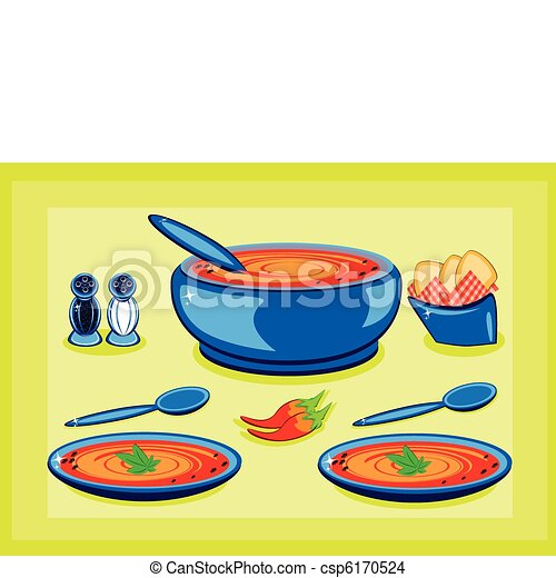 Big cooking pot and a plate with soup  - csp6170524