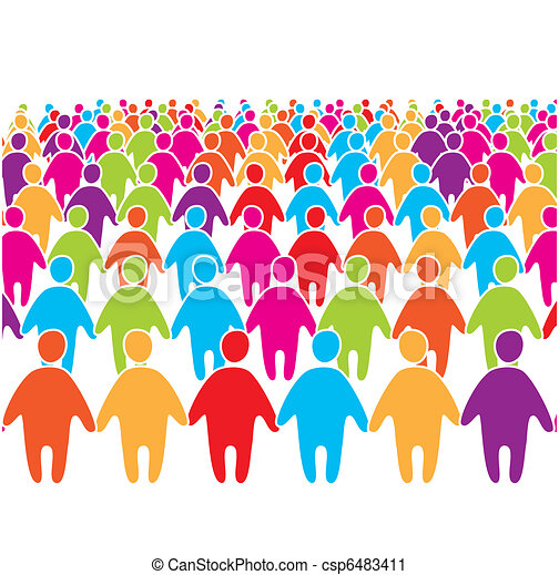 Big-crowd-of-many-colors-social-peo - csp6483411