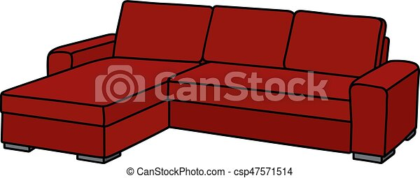 Big dark red sofa