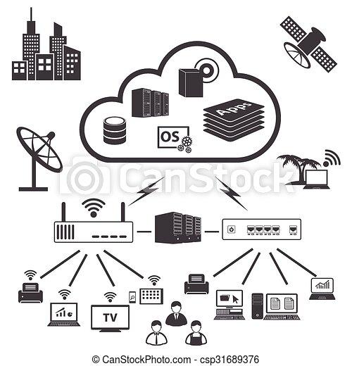 Big Data icons set, Cloud computing - csp31689376