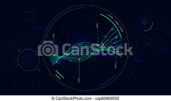 Big data network visualization, Interface screen infographic digital  illustration