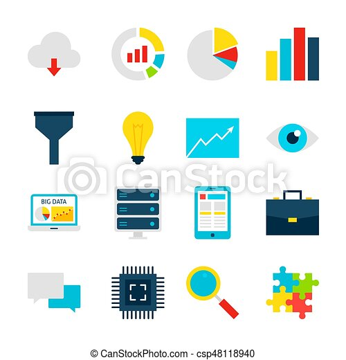 big data objects business analytics set of items isolated eps rh canstockphoto com  data center clipart free