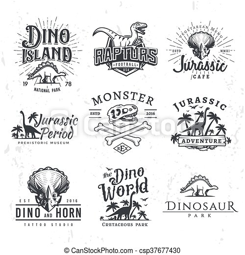 Big Dinosaur Vector Logo Set. Triceratops t-shirt illustration concept. Raptors security insignia design template. Vintage Jurassic Period labels. Theme park badges - csp37677430