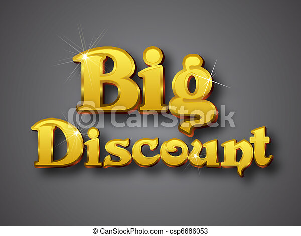 Line Art Vector Illustrator : Big discount write in gold d font vector illustrator