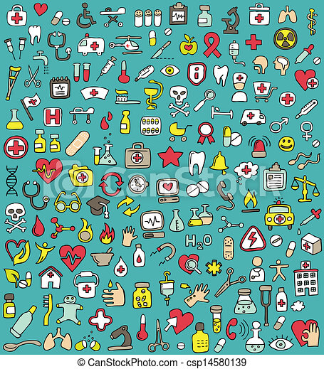 Big doodled medicine and health icons collection - csp14580139
