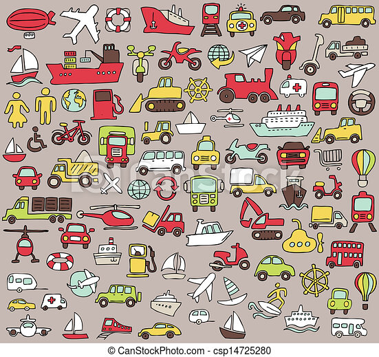 Big doodled transportation icons collection in colors - csp14725280
