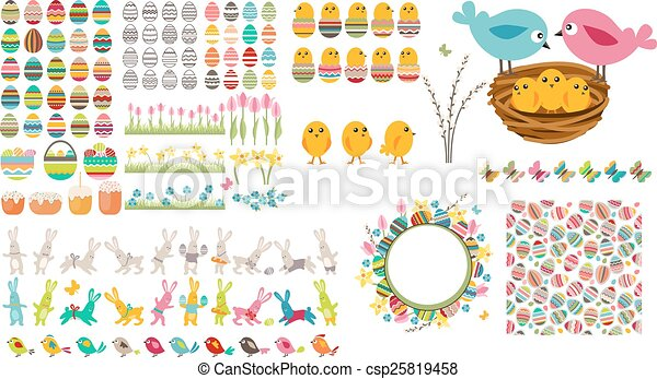Big easter collection with eggs,birds and rabbits - csp25819458